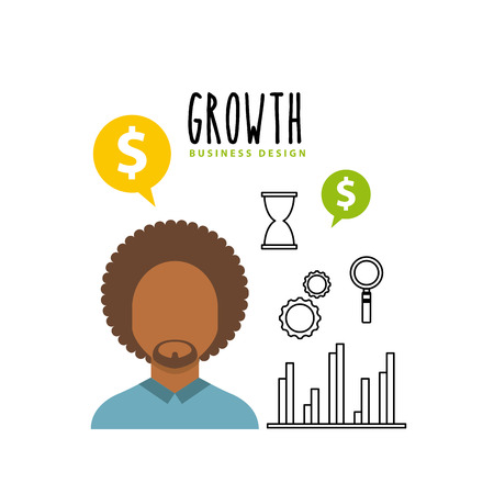 Business growth funds flat icons vector illustration design Illustration