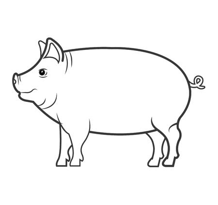 pig animal farm icon vector illustration design