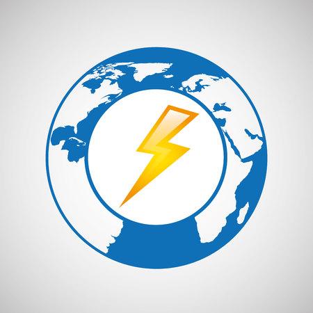 weather forecast globe lightning icon graphic Illustration