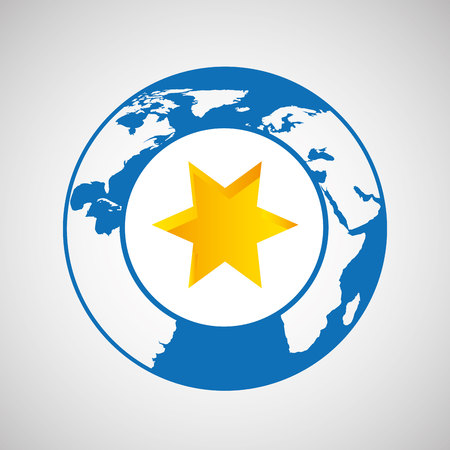 weather forecast globe star icon graphic Illustration