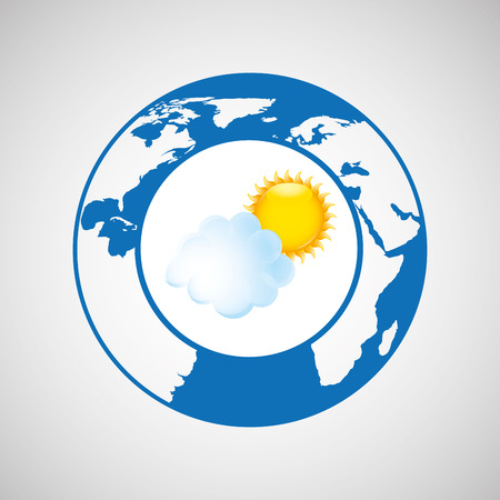 rainbow umbrella: weather forecast globe icon graphic Illustration