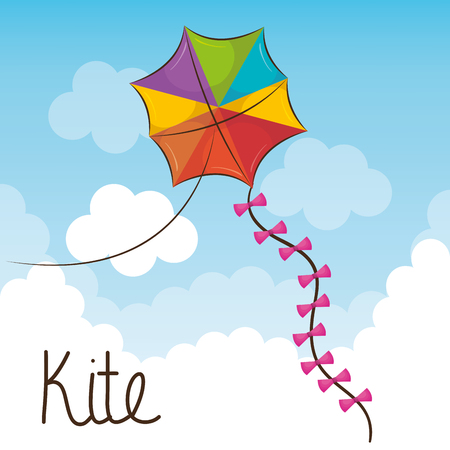 kite toy flying icon vector illustration design