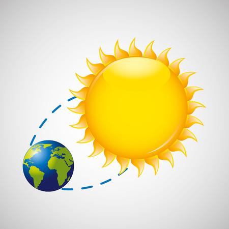 地球回転太陽アイコン デザインのベクトル