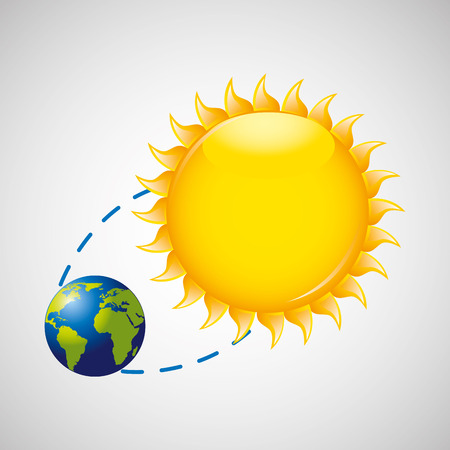 summer solstice: earth rotation the sun icon design vector Illustration