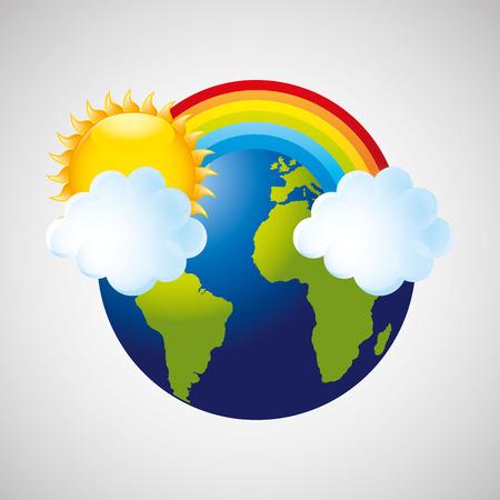 meteorological: globe earth weather meteorology cloud rainbow