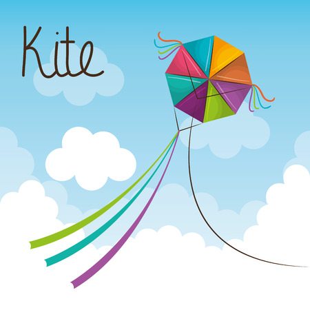 kite toy flying icon vector illustration design