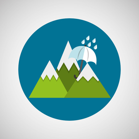 bad weather: weather concept umbrella rain. snowy mountains Illustration