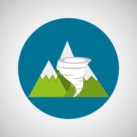 wind dramatic sky: snowy mountains. tornado weather concept design