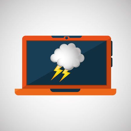 blustery: laptop technology. weather forecast cloud lightning icon graphic vector Illustration