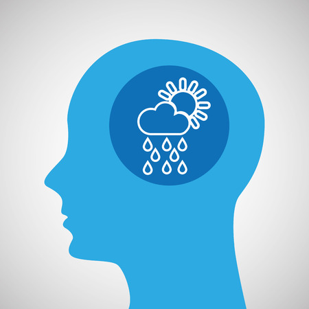 blustery: symbol weather icon. silhouette head and cloud rain sun vector illustration