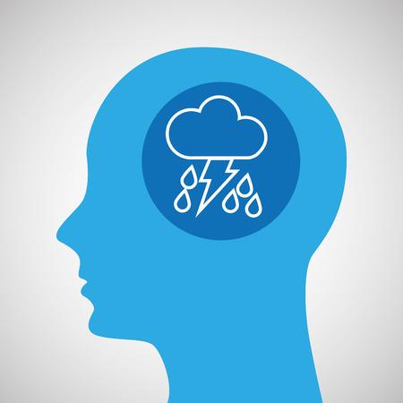 symbol weather icon. silhouette head and rain lightning vector illustration Illustration