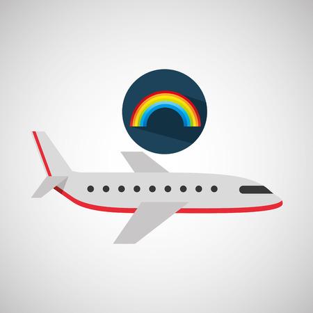 plane travel. weather forecast rainbow icon vector illustration