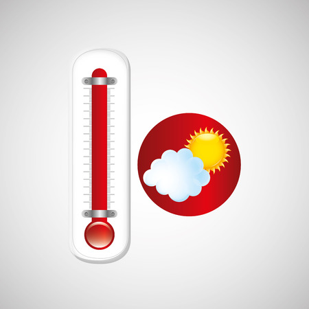 red thermometer icon cloud sun weather meteorology vector illustration