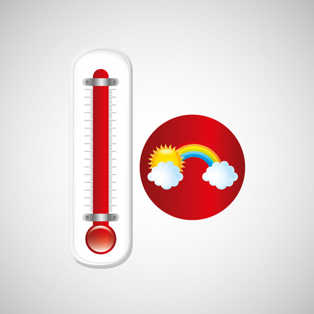 red thermometer icon rainbow weather meteorology