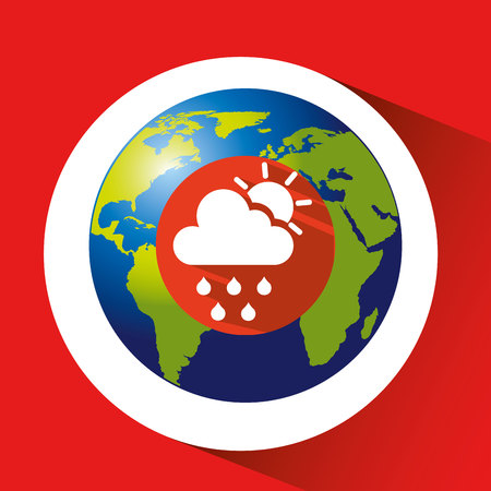 rainbow umbrella: map with silhouette cloud rain sun weather Illustration