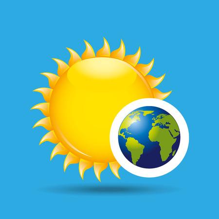 earth rotation the sun icon design vector Illustration