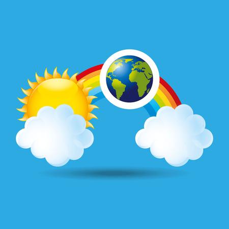 meteorological: globe earth weather meteorology cloud rainbow vector illustration eps 10