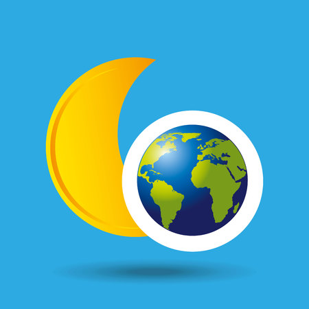 sea disaster: globe earth weather meteorology moon star vector illustration eps 10