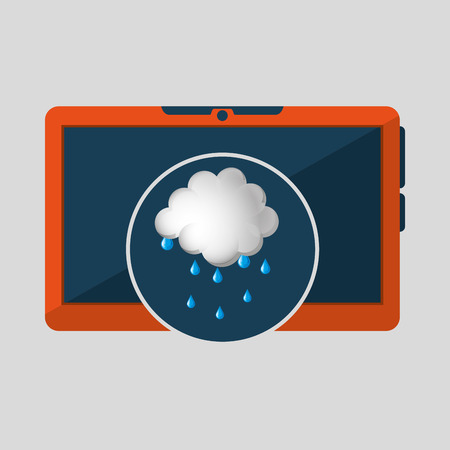 laptop technology. weather forecast cloud rain icon graphic vector illustration