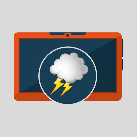 laptop technology. weather forecast cloud lightning icon graphic vector illustration