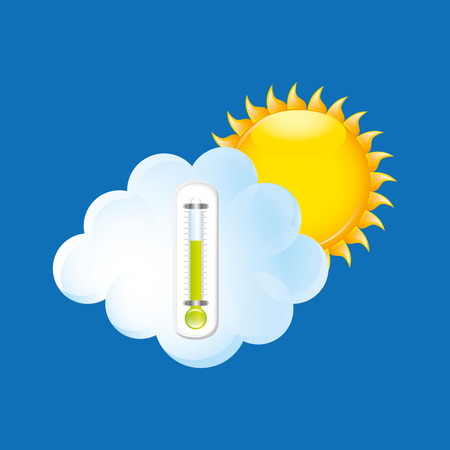 weather forecast sun cloud. thermometer green icon Illustration