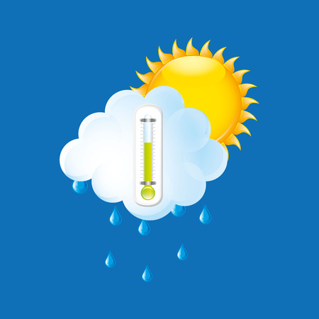 ampoule: weather forecast rain sun. thermometer green icon