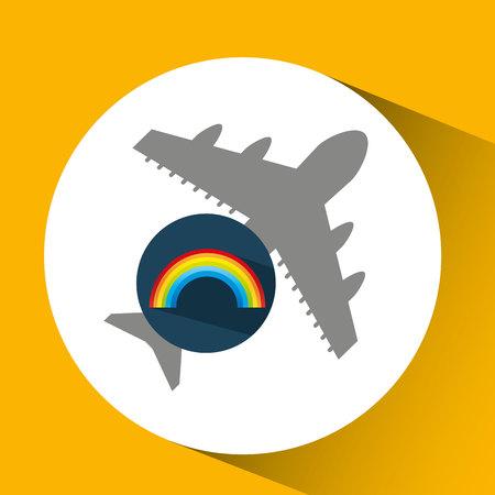 plane travel. weather forecast rainbow icon vector