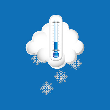overcast: thermometer blue. icon snow weather design vector Illustration