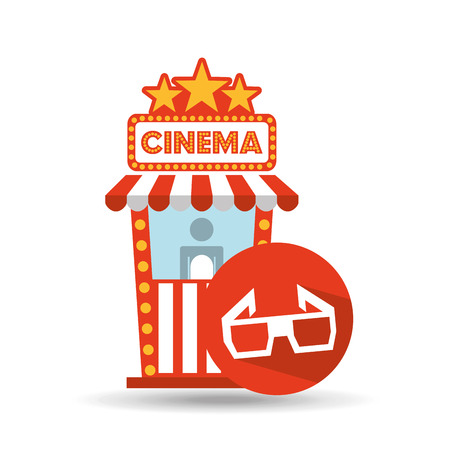ticket office: cinema movie ticket office. glasses 3d graphic vector