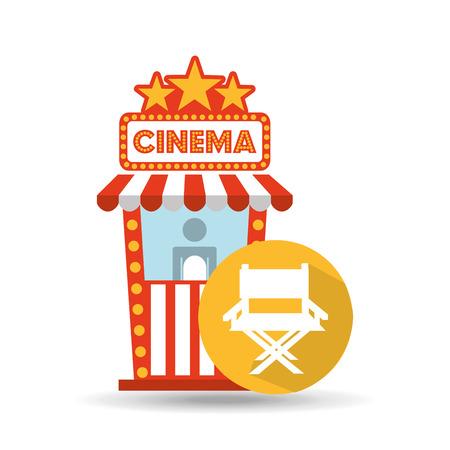 cinema movie ticket office. director chair graphic Illustration
