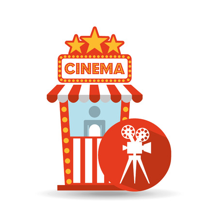 cinema movie ticket office. film camera graphic vector