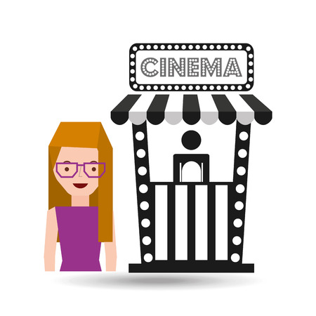 moviehouse: girl cartoon and ticket office icon cinema graphic