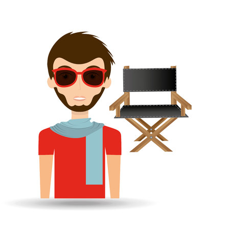 man hipster concept movie cinema director chair icon