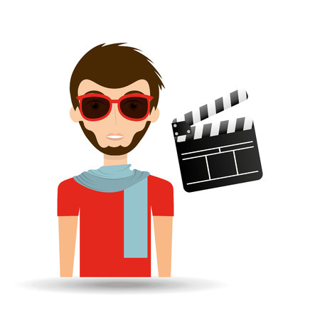 man hipster concept movie cinema clapper icon vector illustration eps 10 Illustration