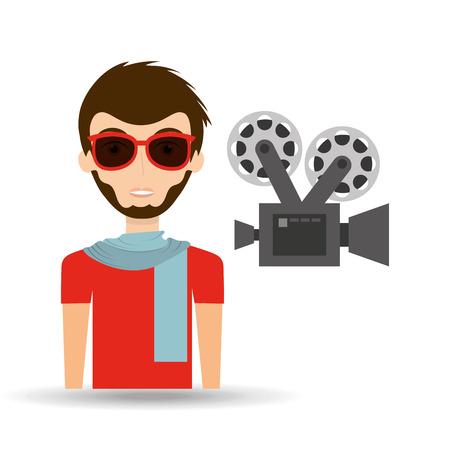 man hipster concept movie cinema camera icon vector Illustration