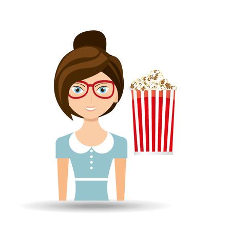 sexualidad: Icono hermoso palomitas de maíz película de cine concepto chica Vectores