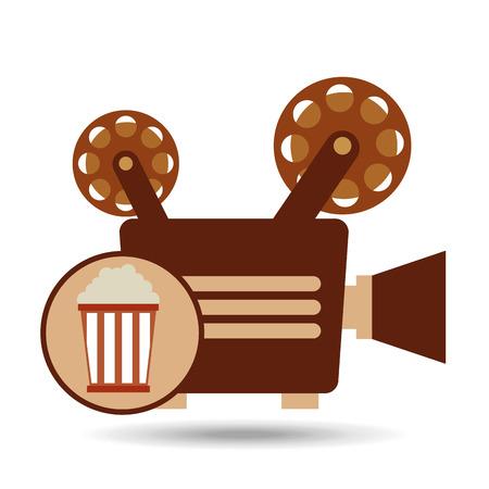 camera movie vintage pop corn icon design vector Illustration