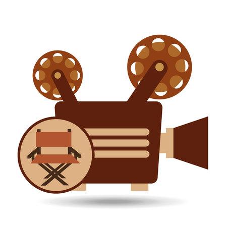 filmmaker: camera movie vintage chair icon design vector