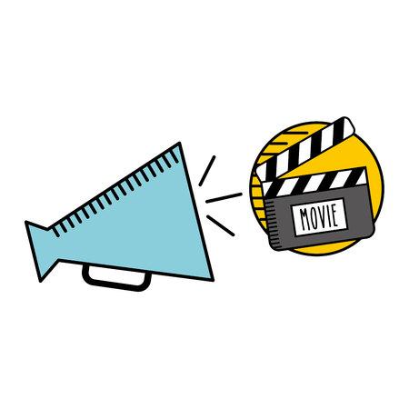 cartoon megaphone cinema movie icon vector illustration