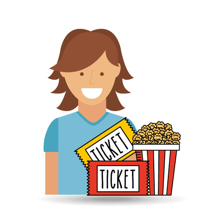 moviehouse: cheerful girl cinema icon pop corn ticket design vector