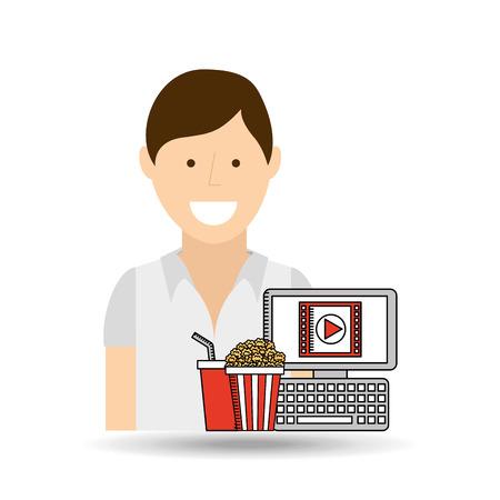 happy woman cartoon cinema online fast food vector