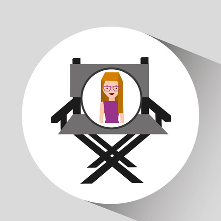 girl cartoon and chair speaker icon cinema graphic