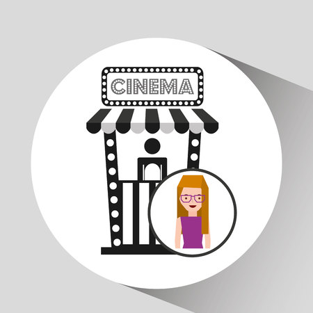 ticket office: girl cartoon and ticket office icon cinema graphic