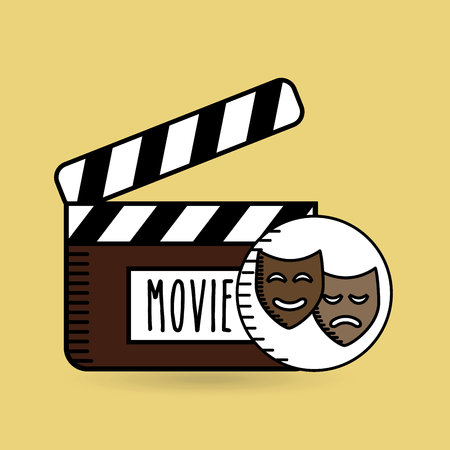 clapper movie hand icon design vector illustration