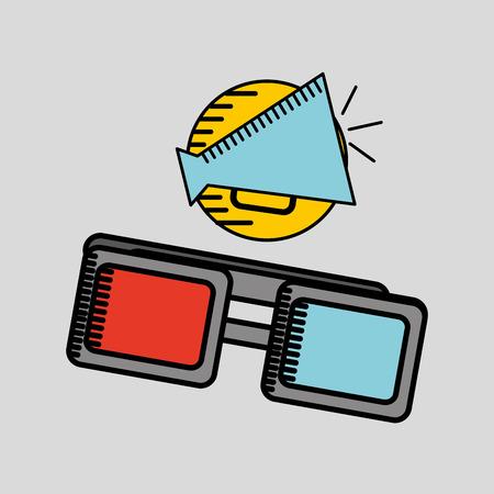 director chair: cartoon megaphone cinema movie icon vector illustration