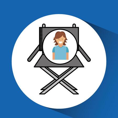 viewer: cheerful girl cinema chair megaphone icon design vector