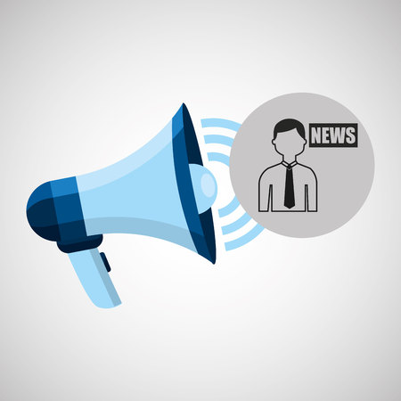evening newspaper: megaphone concept news anchorman design vector