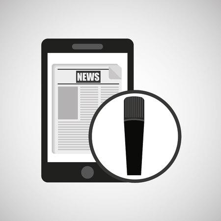 digital news: smartphone digital news online design vector illustration Illustration