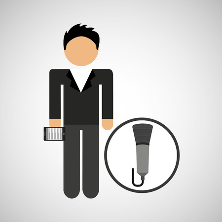 man smartphone and news microphone design vector illustration