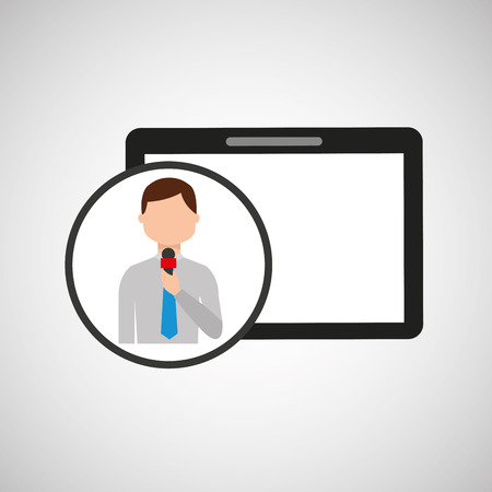 correspondent: technology digital tablet news correspondent vector illustration
